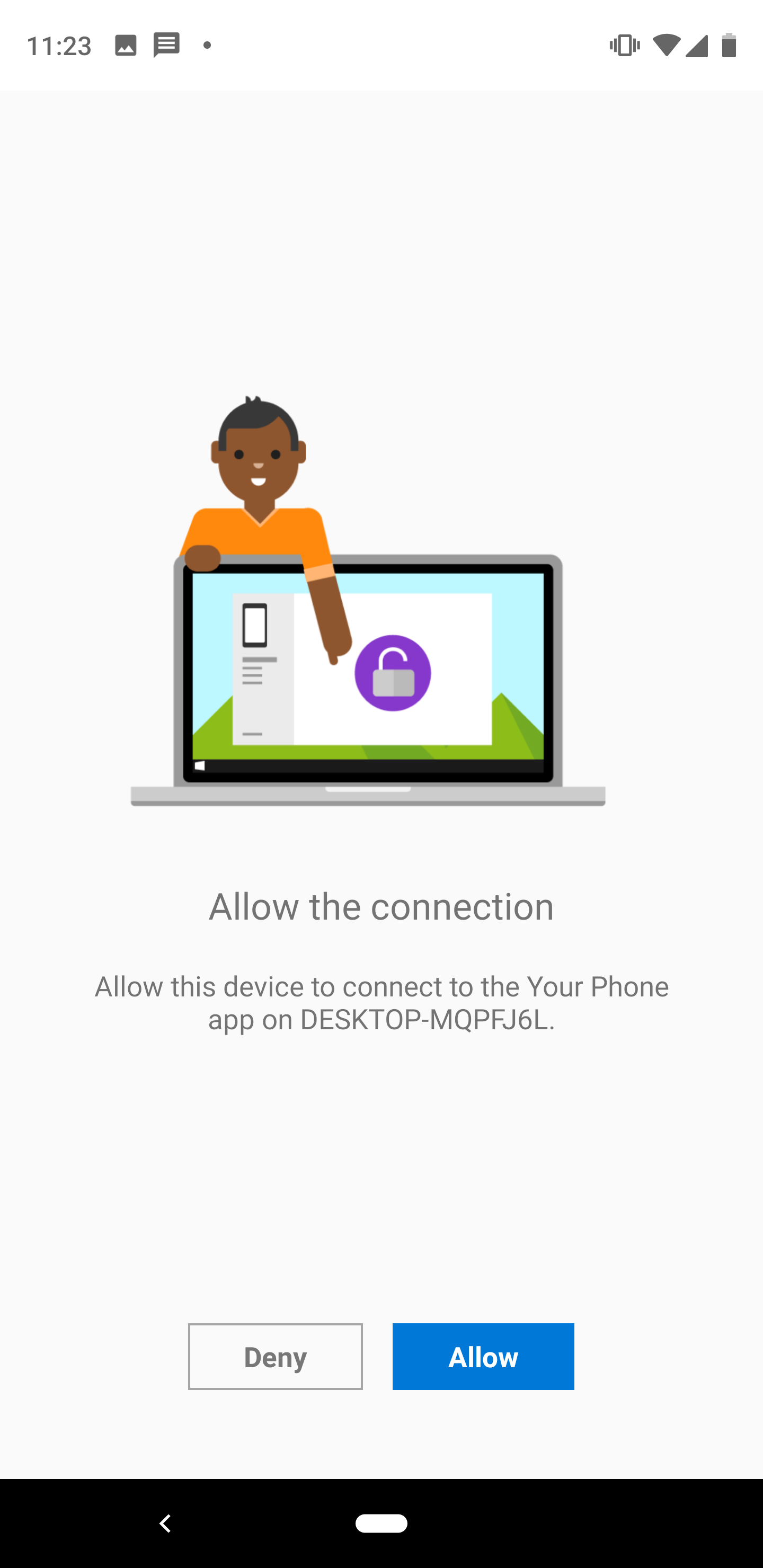 android your phone allow windows 10 connection