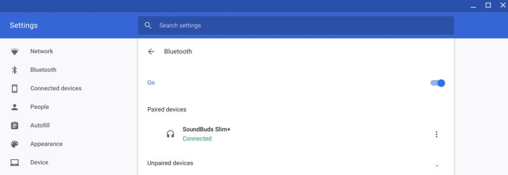 chrome os bluetooth battery settings