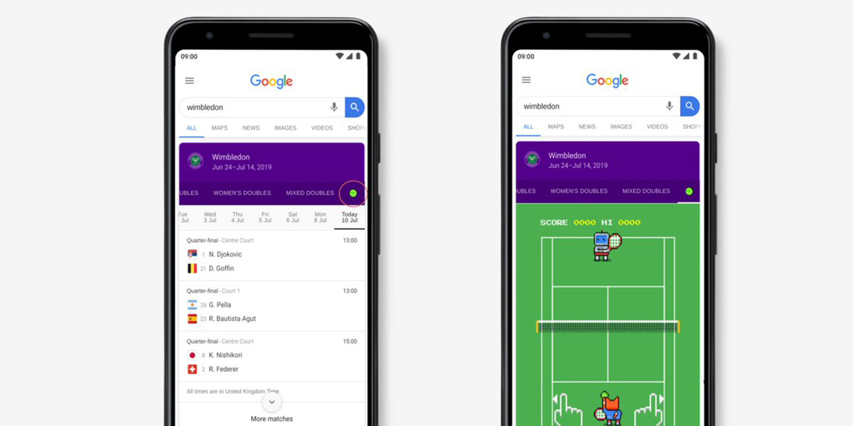 Google adds an 8-bit Wimbledon Easter egg game in Search