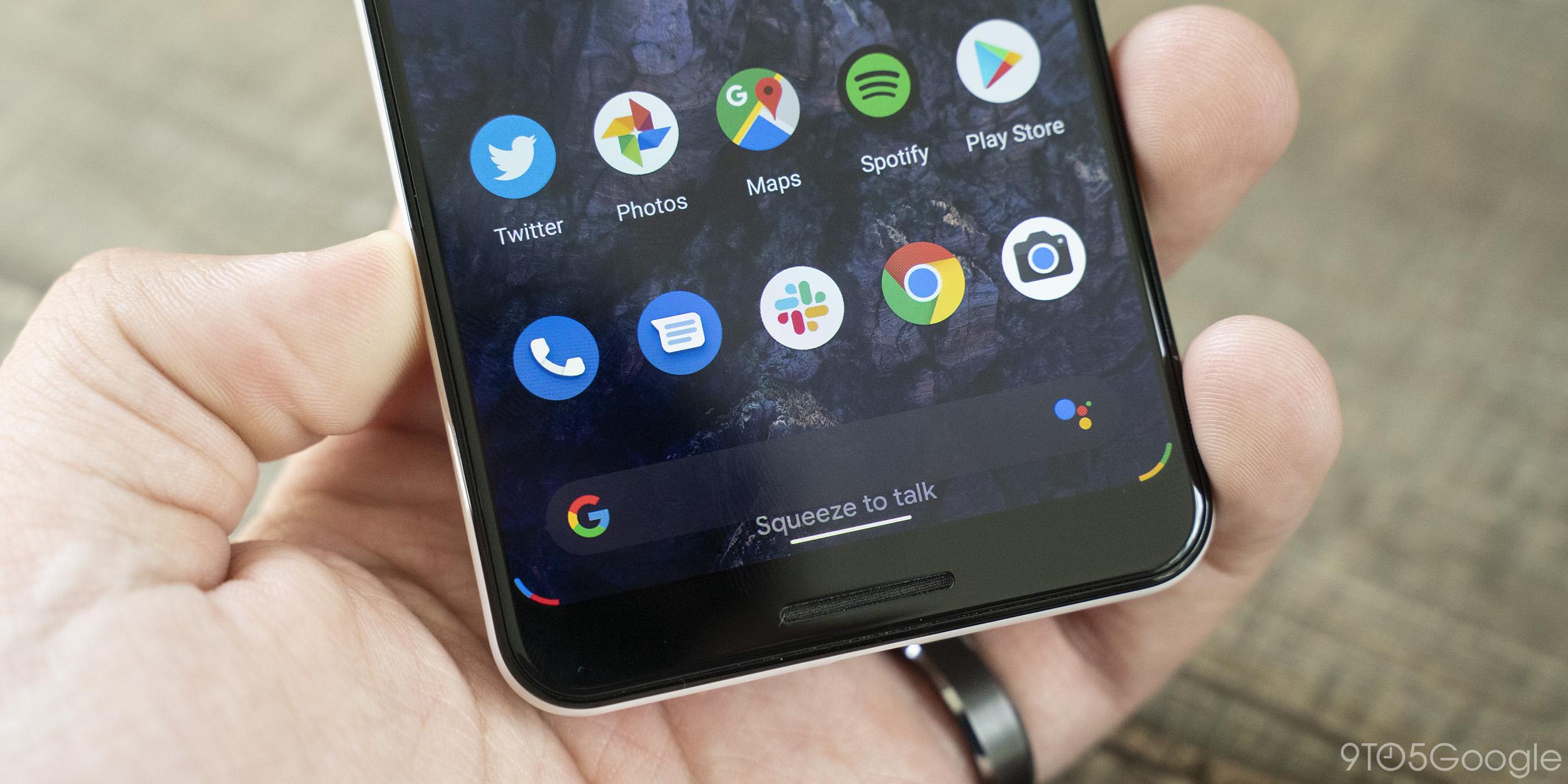 """Android Q Beta 5: Bei Verwendung von Assistentengesten werden auf Pixel hilfreiche Eingabeaufforderungen angezeigt: """"Active Edge""""."""