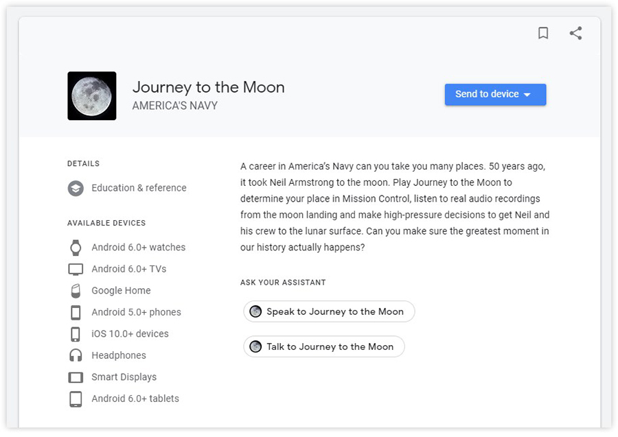 google assistant journey to the moon game