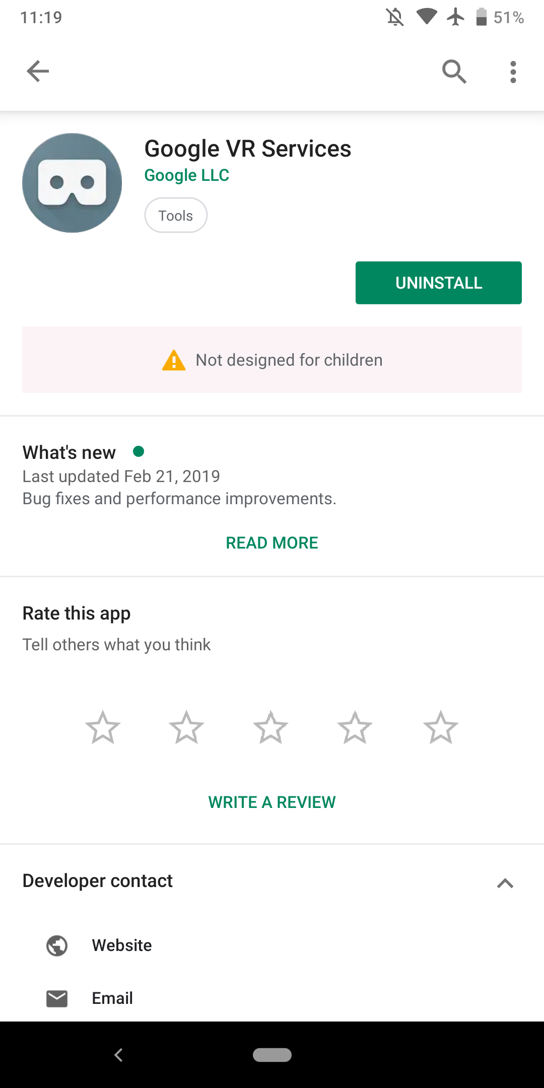 Not designed for children' warning shows up in Play Store