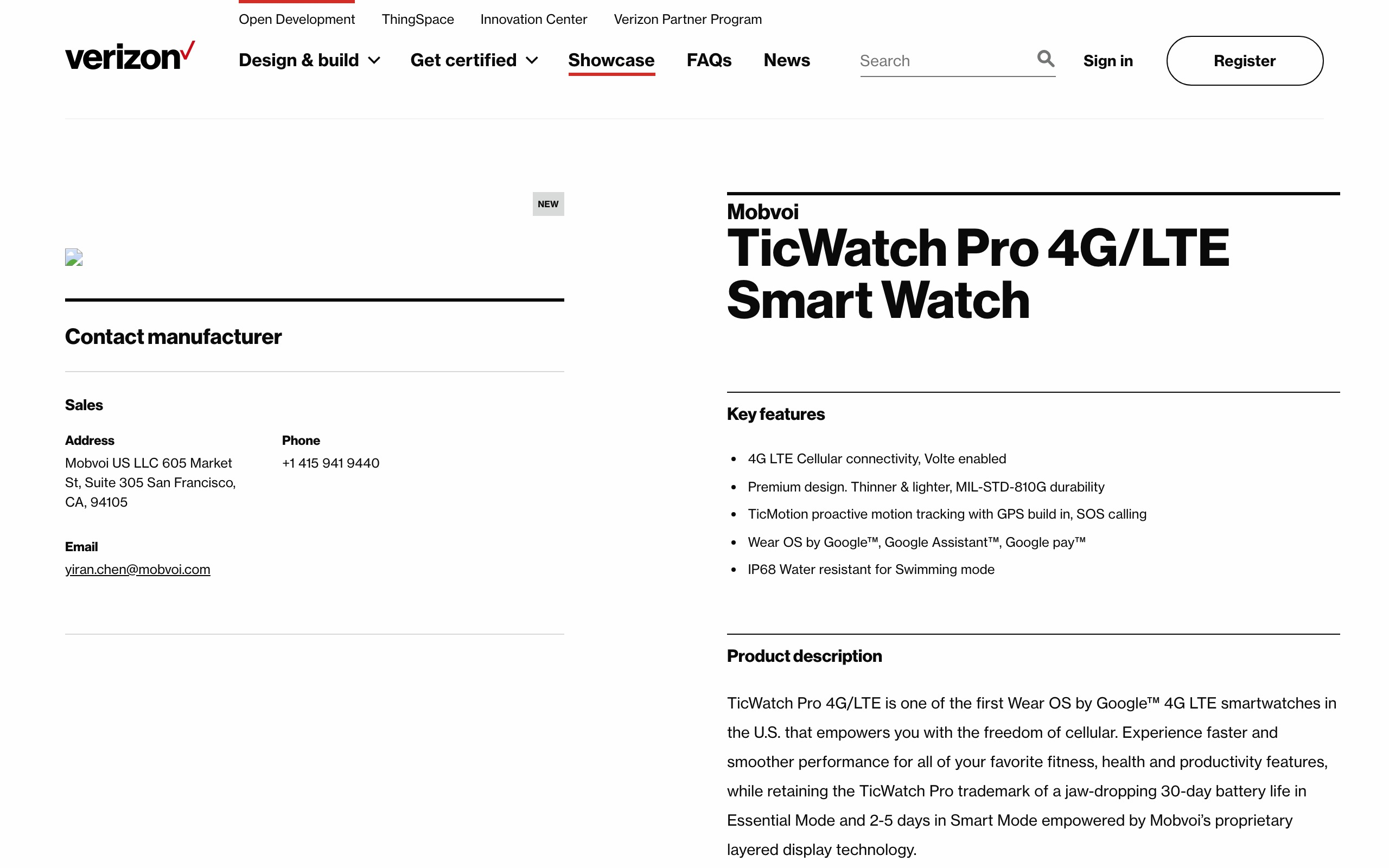 Verizon developer site reveals 'TicWatch Pro 4G/LTE