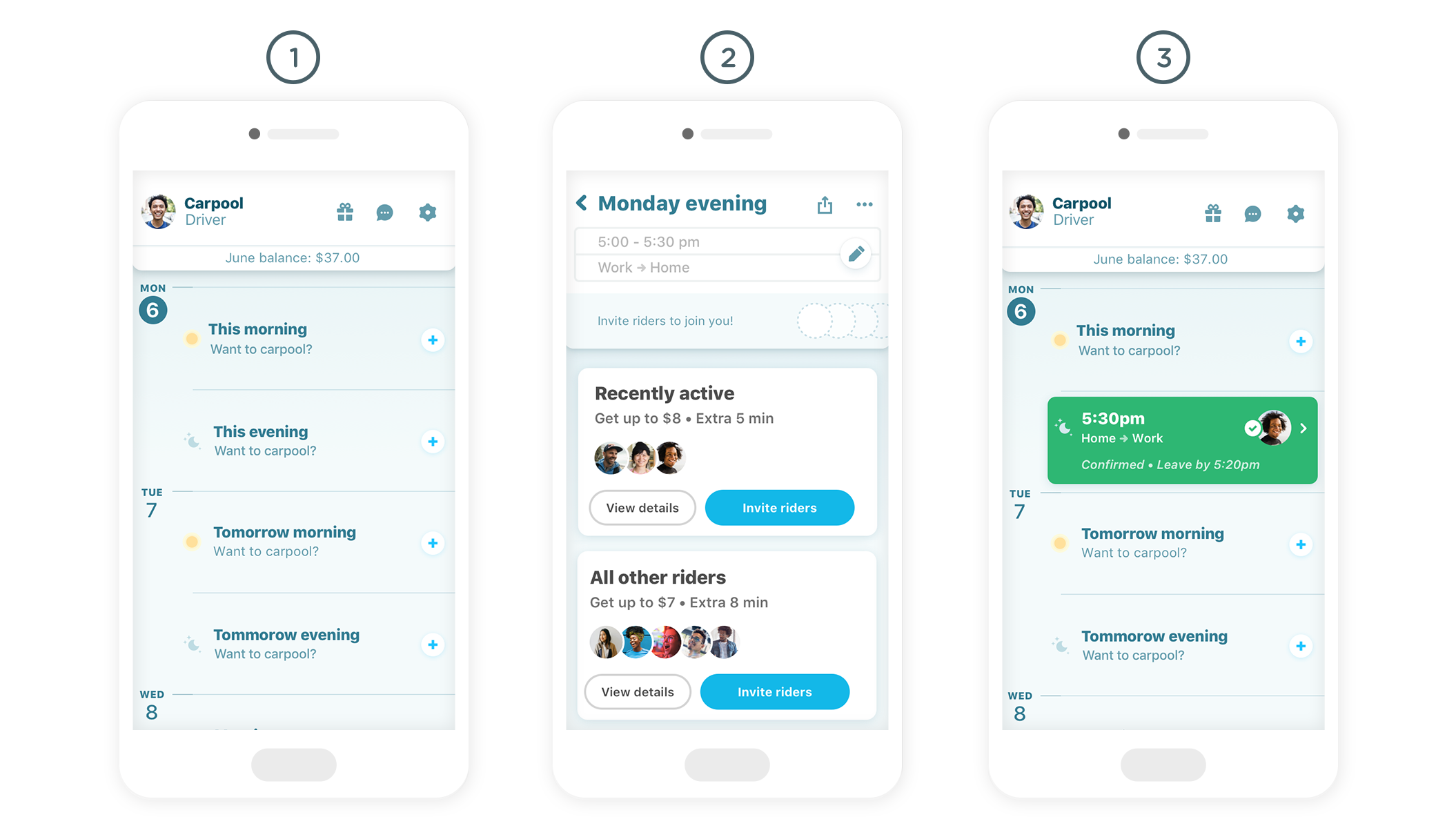 waze carpool calendar drivers