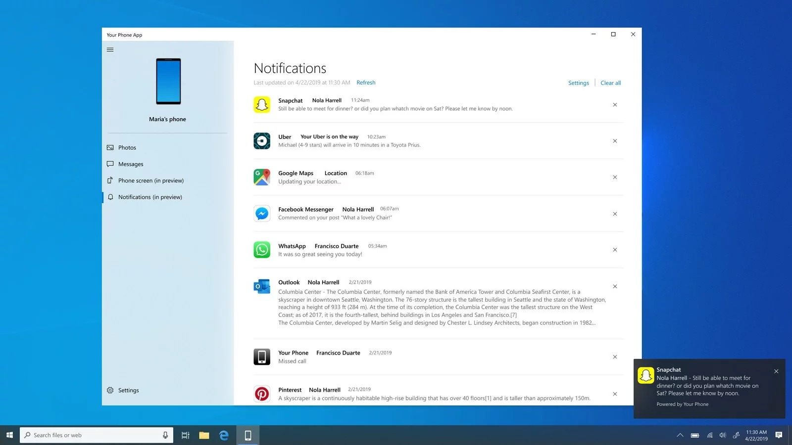 windows 10 your phone android notifications