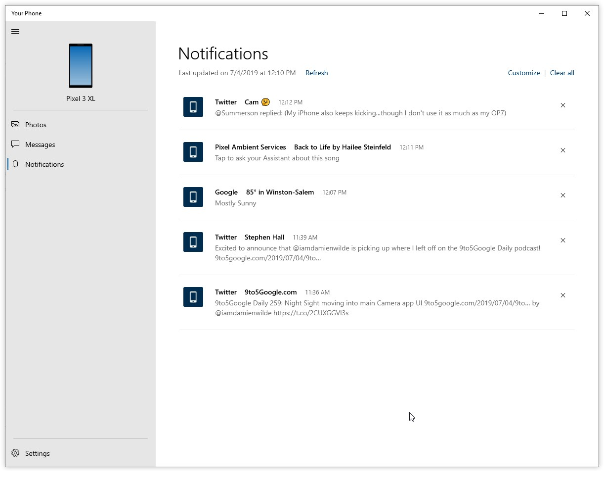 windows 10 your phone app android notifications