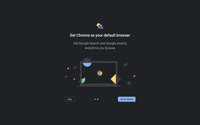 Chrome 77 beta: New welcome screen, preps customizing New Tab page