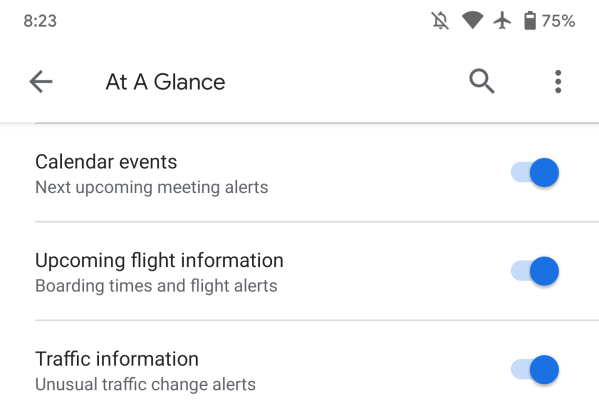 Google app 10 41 preps device notifications in Ambient Mode, Alarms