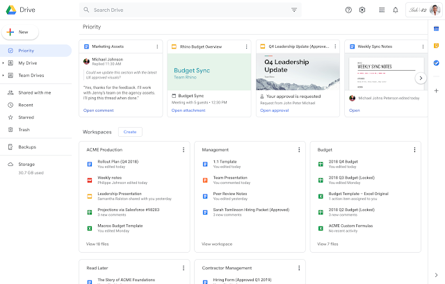 Google Drive 'Priority' page, 'Workspaces' available for all