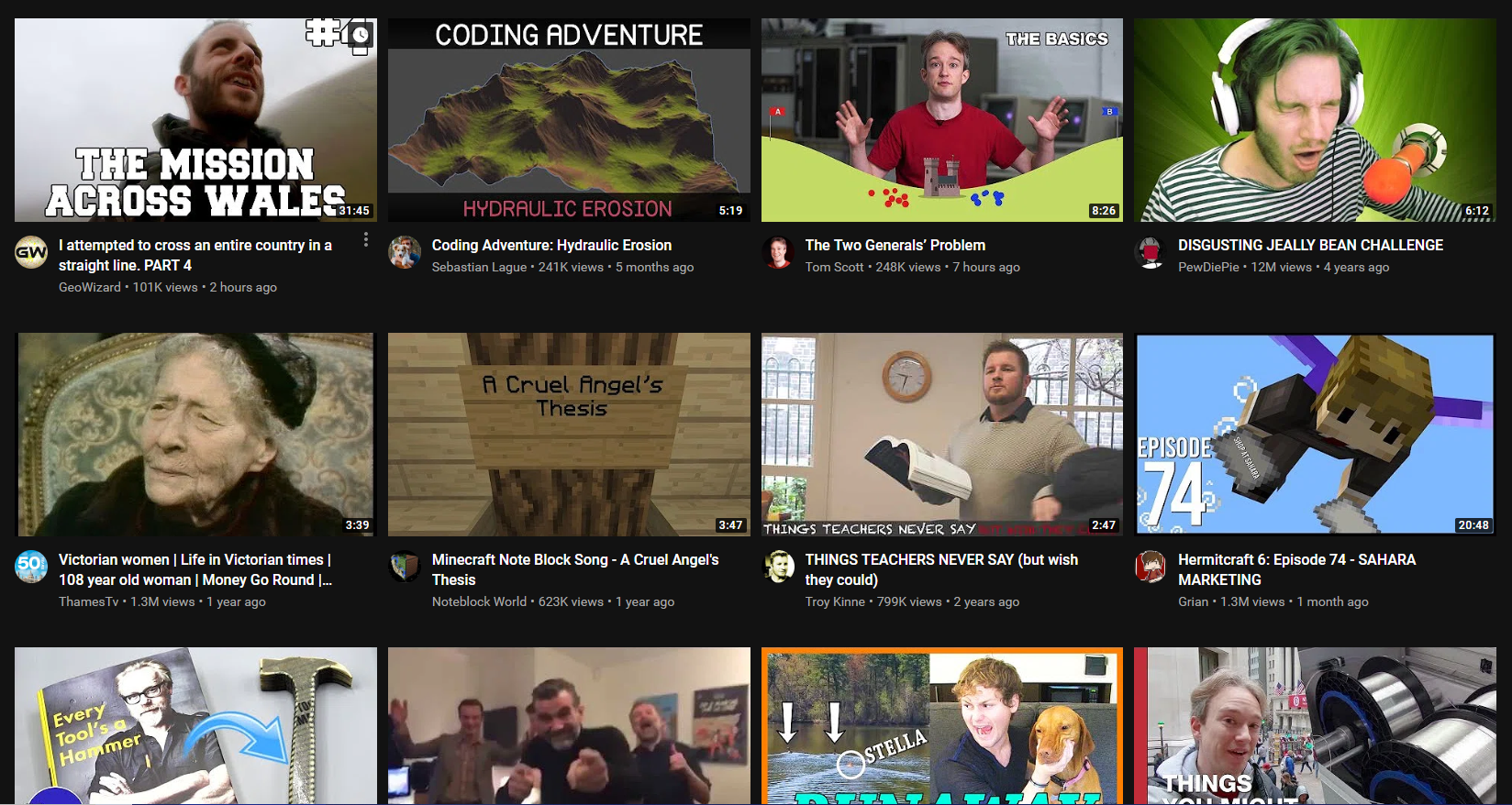 YouTube testing large video thumbnails on web homepage