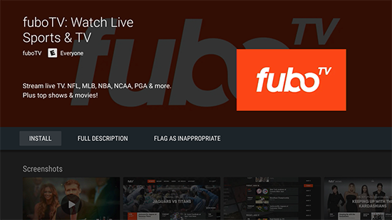 FuboTV Android TV install screen Play Store