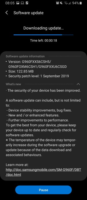 Galaxy S9 September patch
