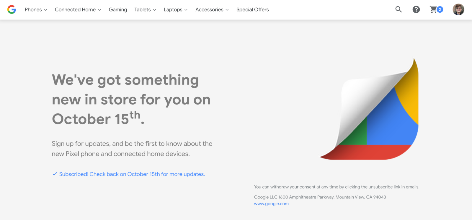 Google Store teaser copy excludes mention of Pixelbook, Watch for 10/15 event
