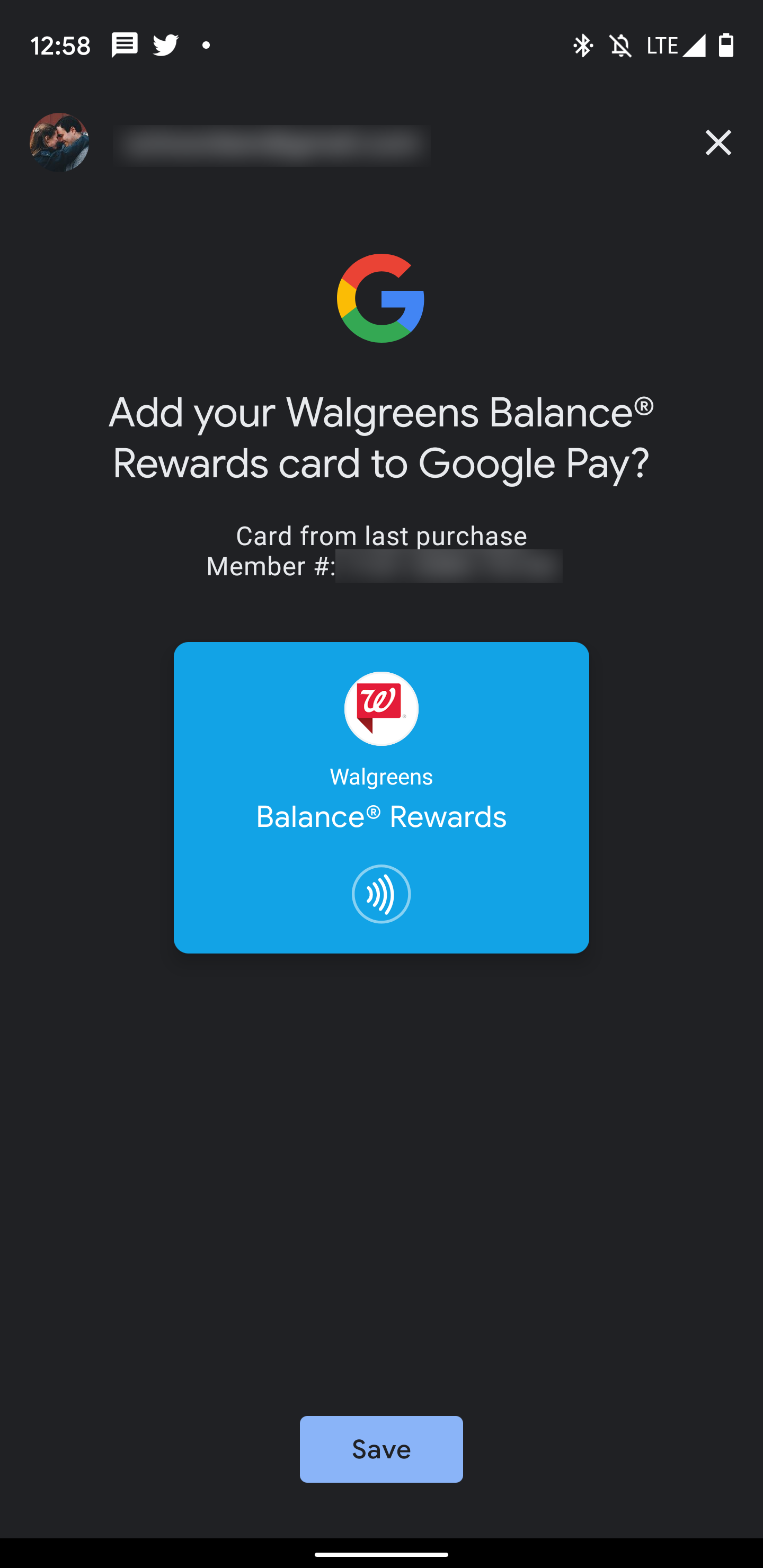 google pay import rewards card in-store purchase