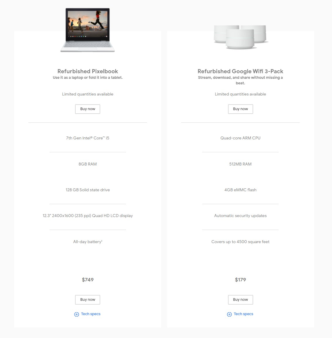 google store refurbished products