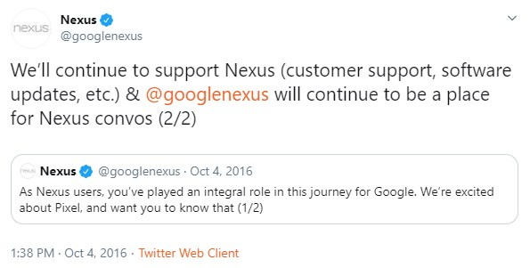 nexus twitter account confirm support