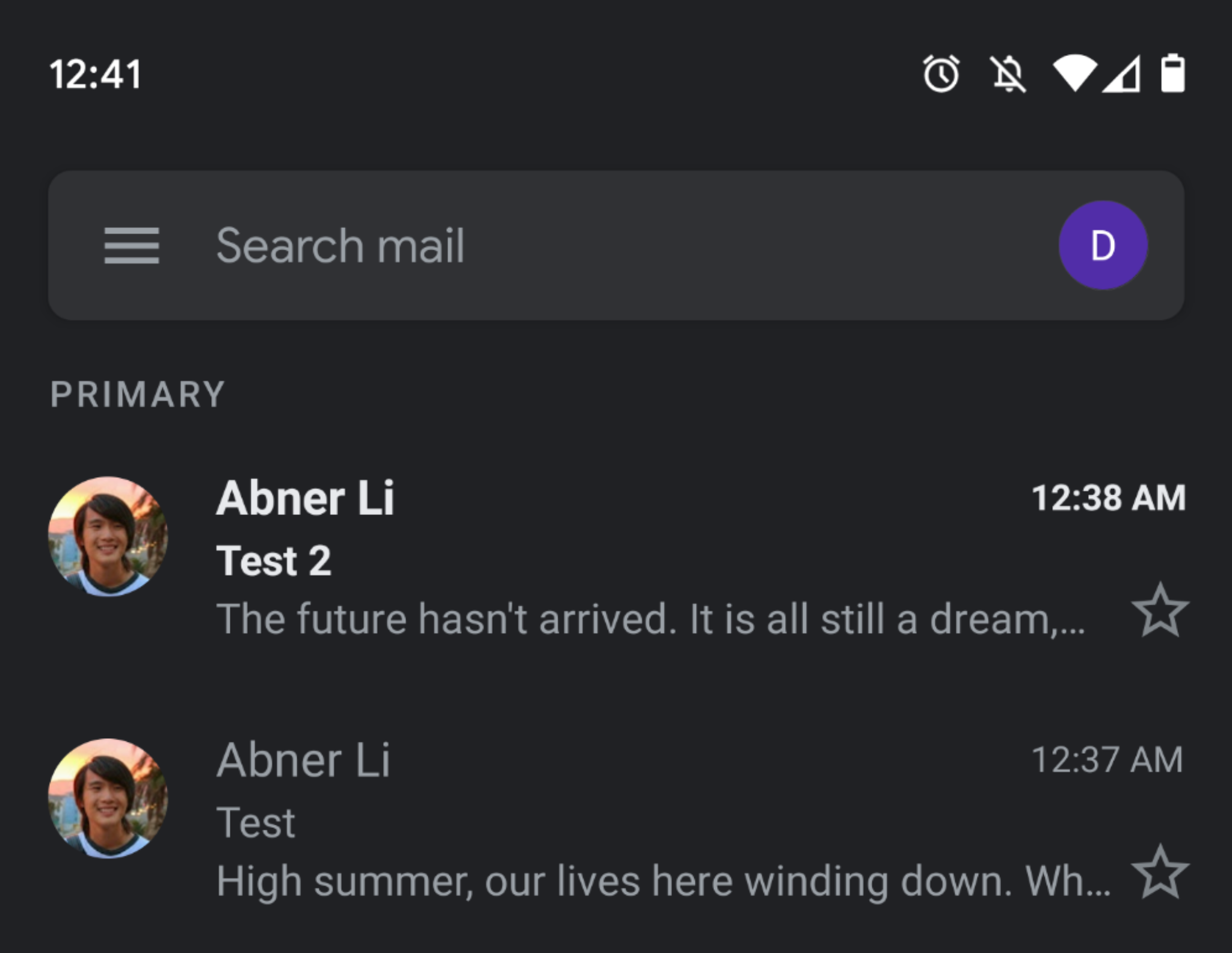 Gmail Android iOS Dark Theme
