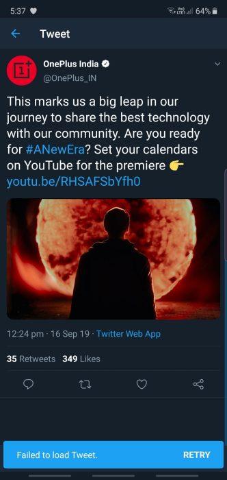 oneplus launch deleted tweet