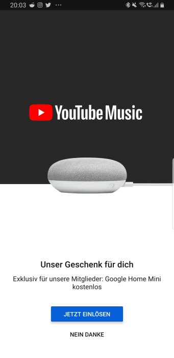 YouTube Music offering some subscribers free Home Mini