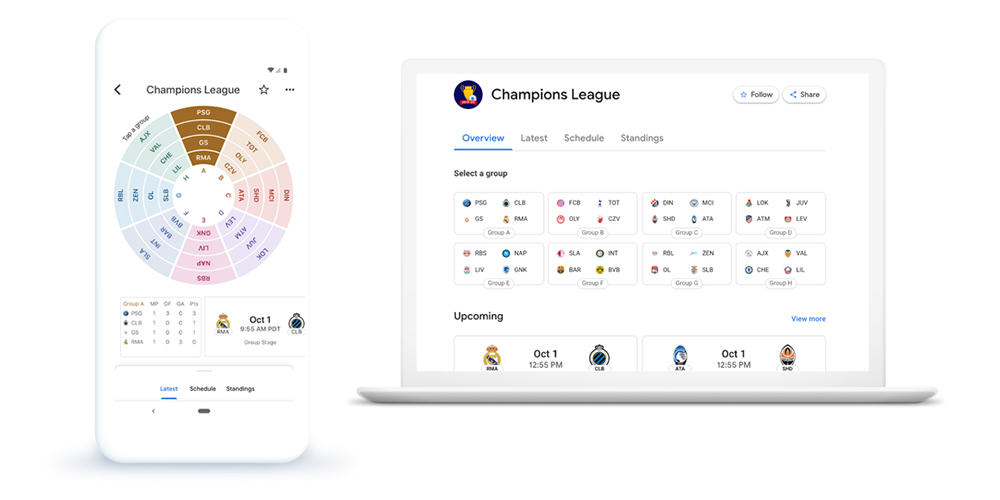 Google News now has in-depth UEFA Champions League highlights, data, and more