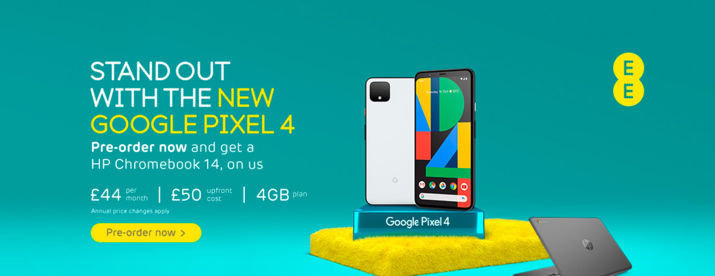 Pixel 4 EE ad UK