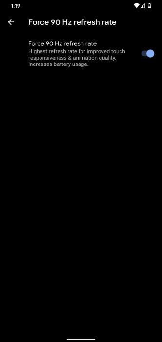 pixel 4 force 90hz display