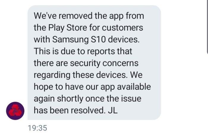 UK banks blacklist Samsung Galaxy S10 - Natwest
