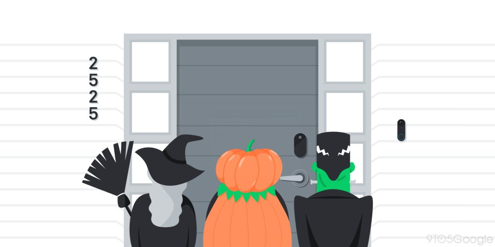 A flat style image depicting three children trick-or-treating.