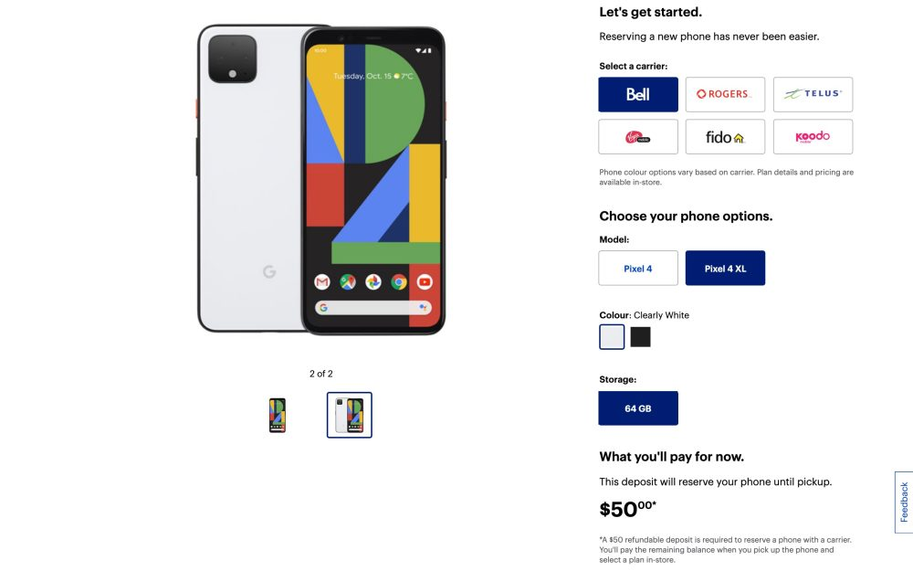 Pixel 4 fully detailed by Best Buy Canada with specs, comparison, and pre-order - 9to5Google 7