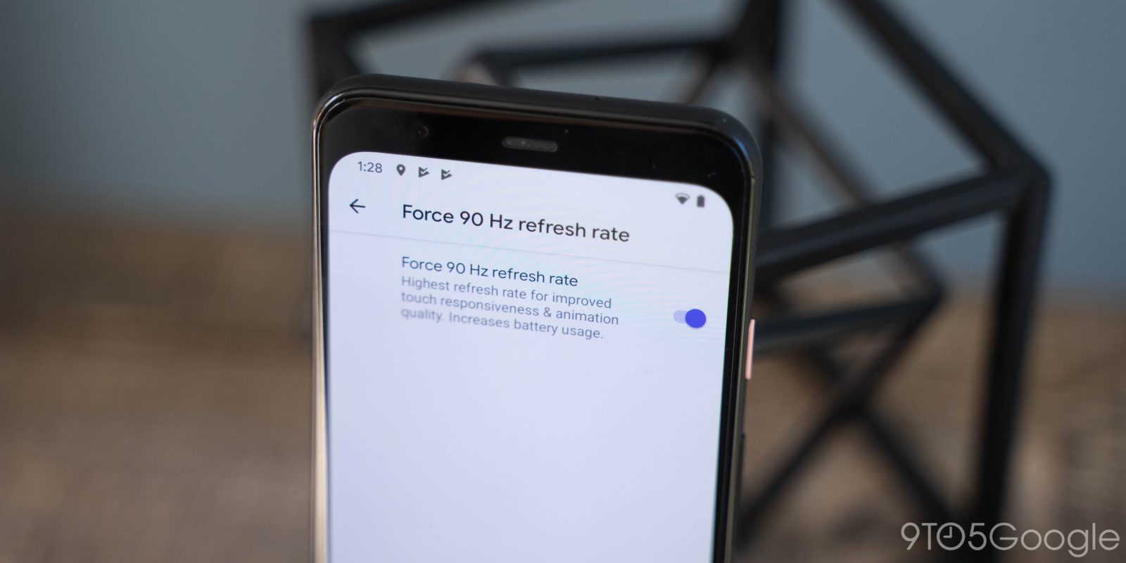 How to force 90 Hz refresh rate on Pixel 4 display at all times