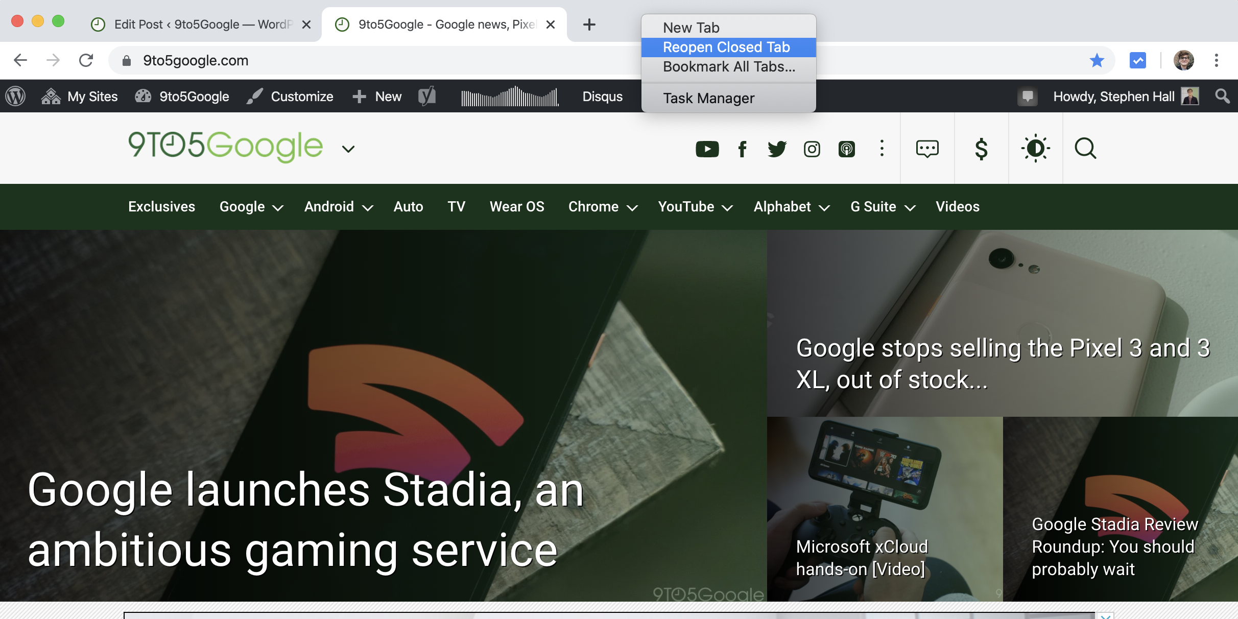 chrome reopen closed tab