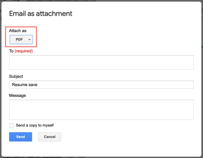 Google Docs Send Email as PDF