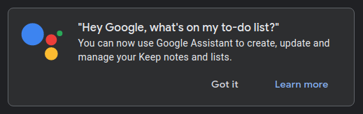 "A message on Google Keep that says, ""You can now use Google Assistant to create, update and manage your Keep notes and lists."""