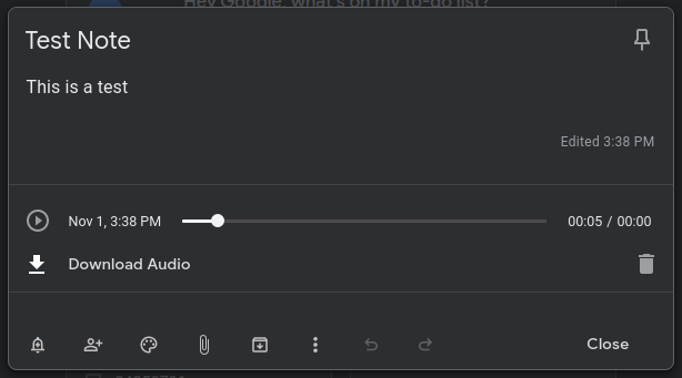 The interface for audio notes on Google Keep for web.