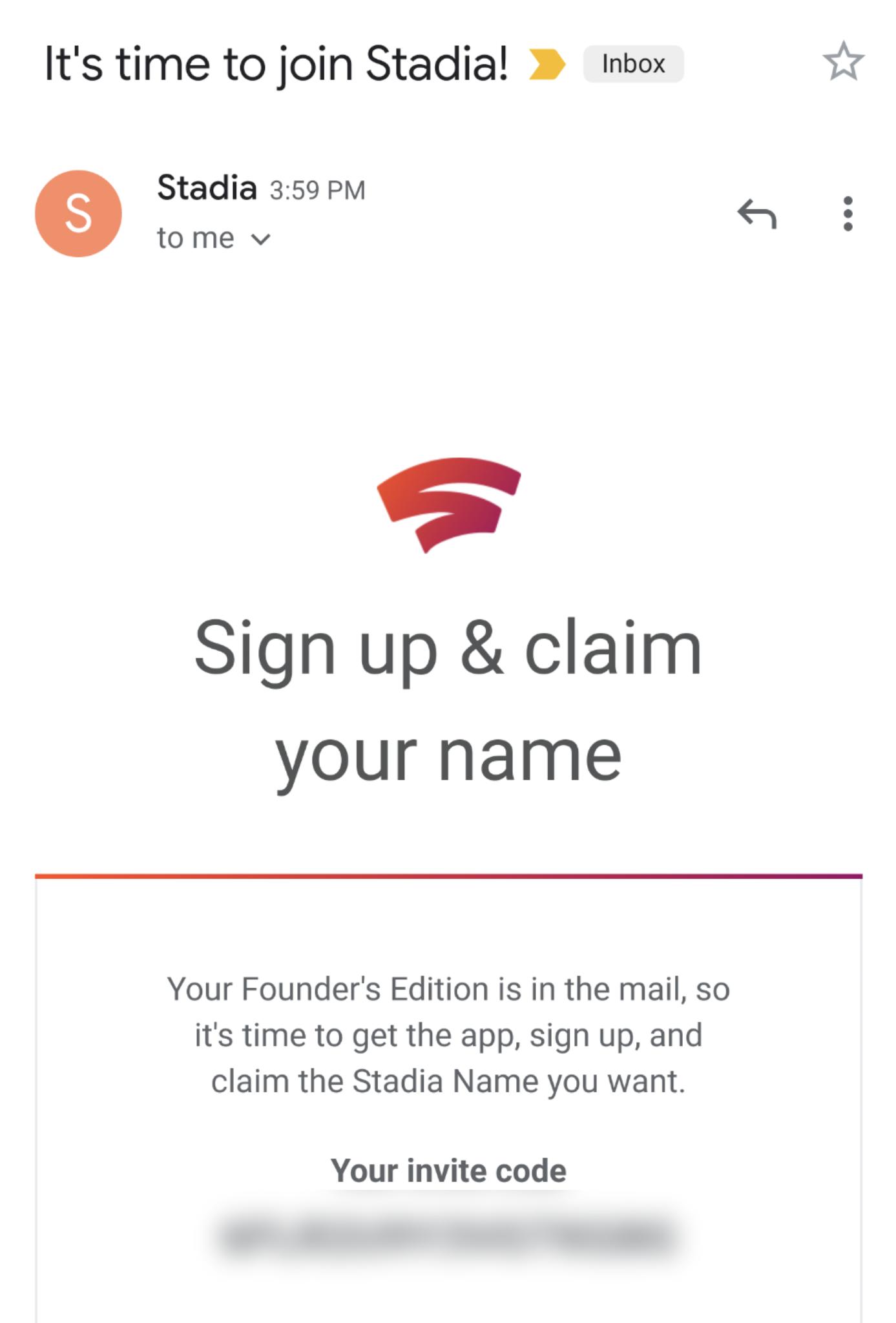 google stadia invite code gmail
