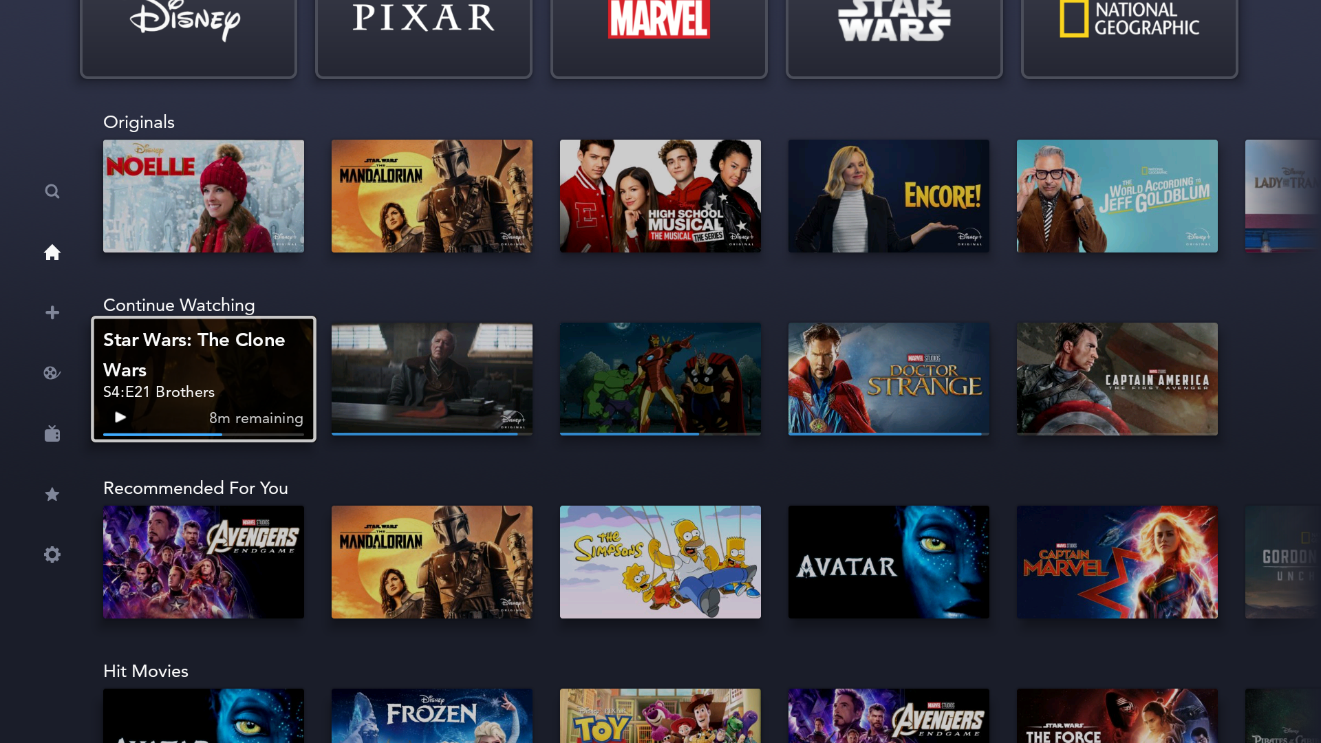 disney+ plus continue watching feature homescreen android tv