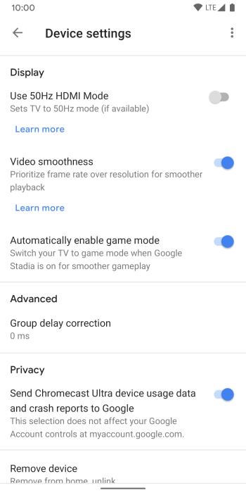 Chromecast Ultra Stadia Game Mode