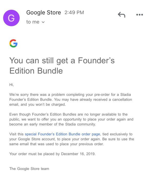 Stadia Founders Edition reorder