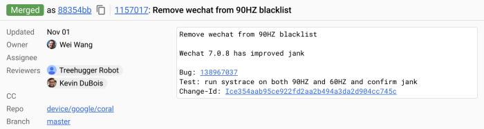 Pixel 4 WeChat 90Hz commit