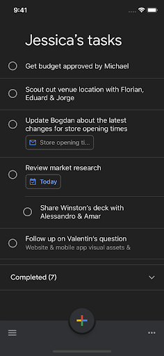 Google Tasks Dark Mode iOS