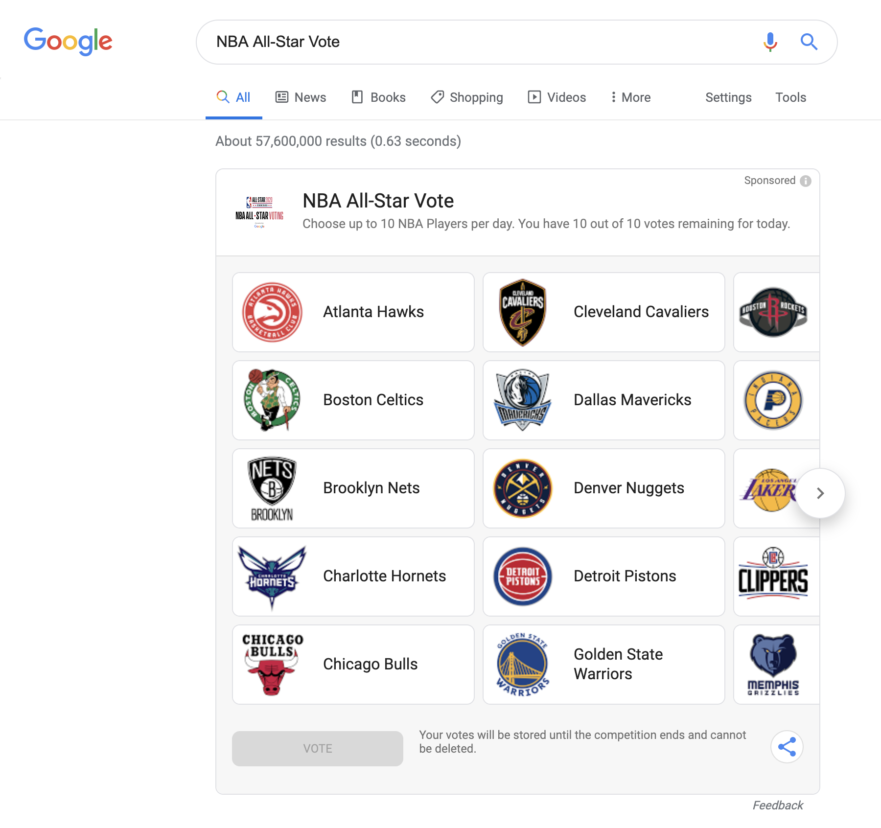 Nba All Star Voting Is Again Exclusive To Google For 2020