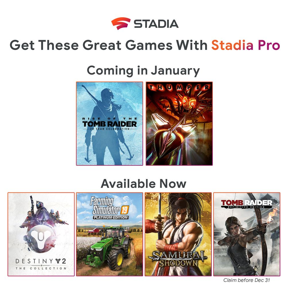 Stadia Pro January 2020 games