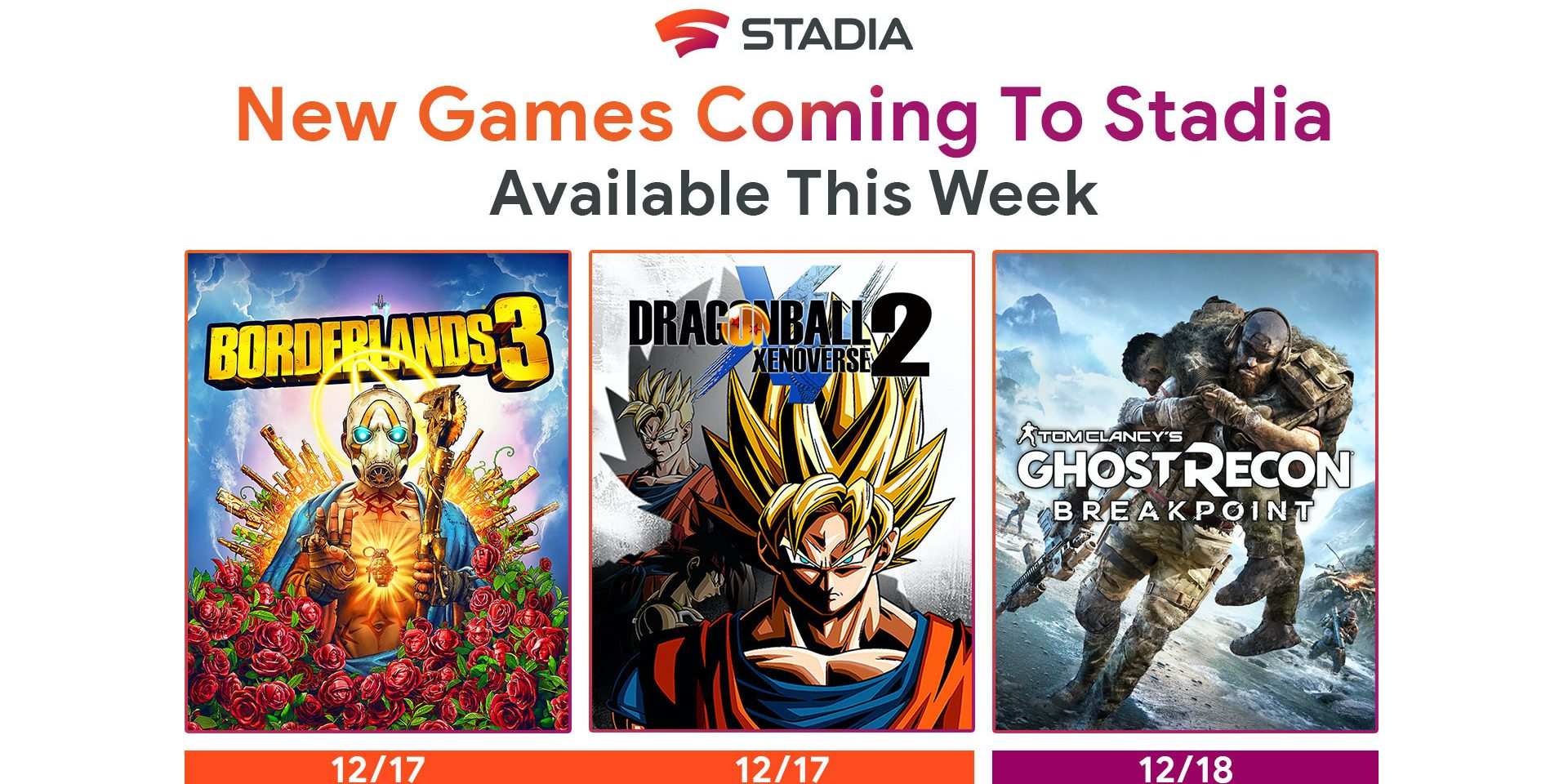Stadia adds Borderlands 3 and Dragon Ball Xenoverse 2, Ghost Recon Breakpoint tomorrow
