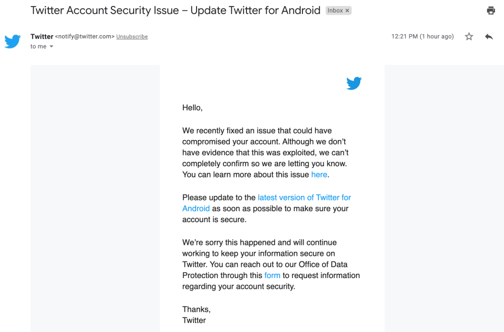 Twitter Android security issue