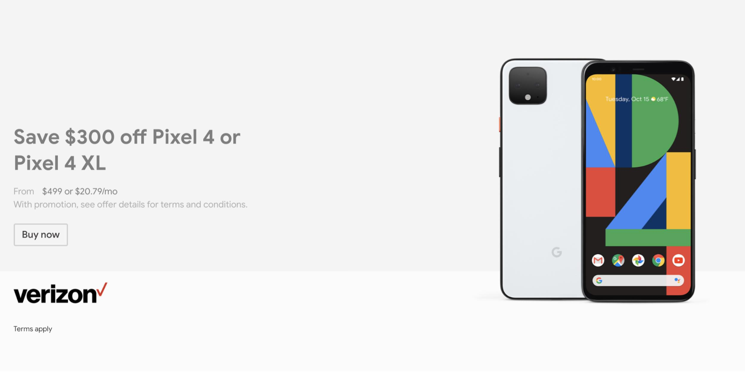 Google Store Discounts Pixel 4 By 300 To 499 For Verizon 9to5google