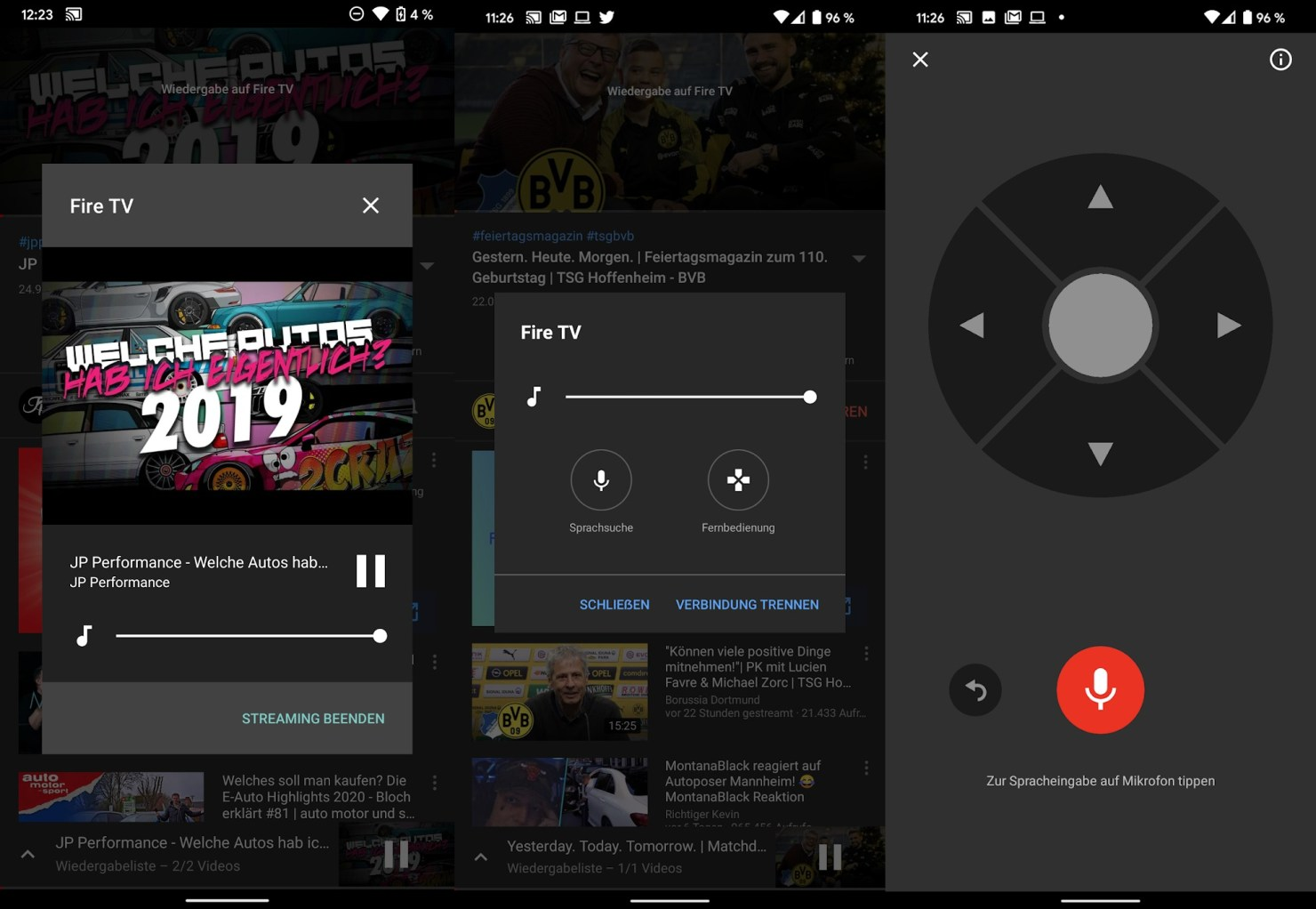 youtube android tv remote cast menu