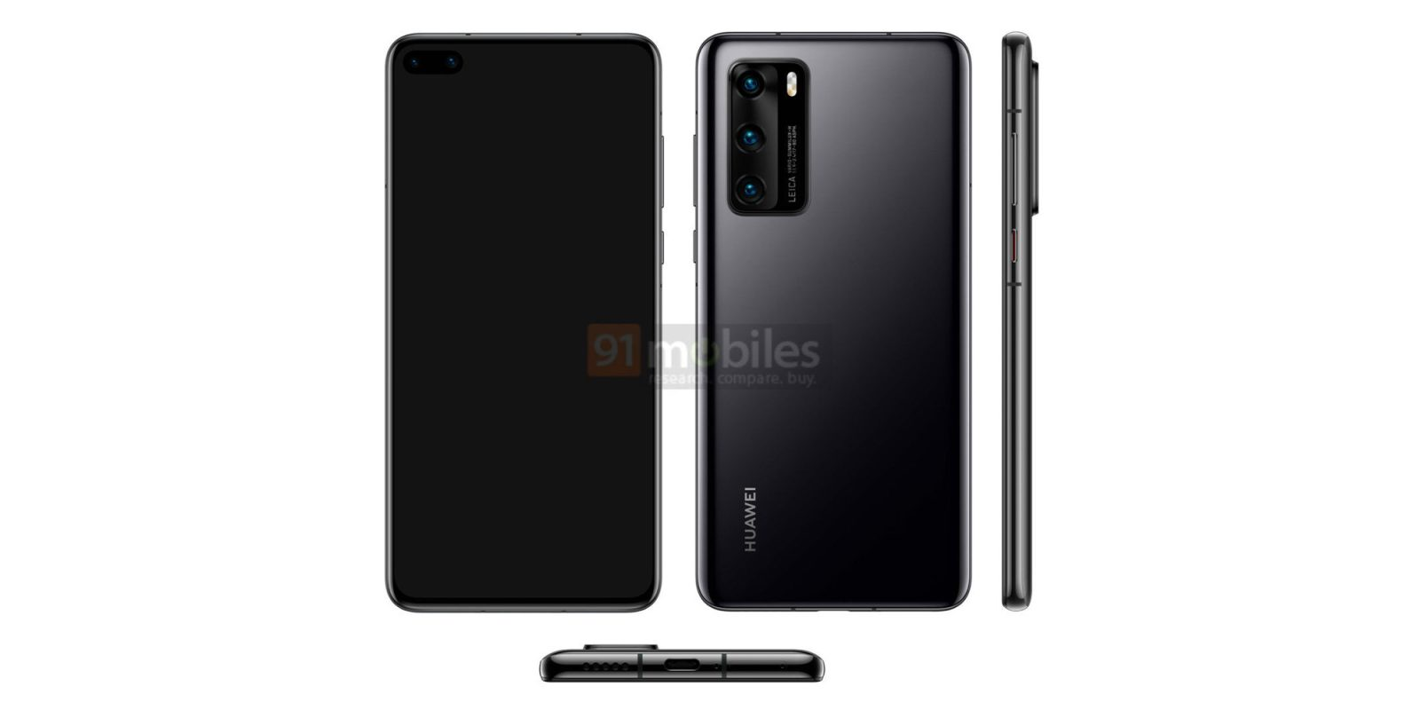 [Update: P40 Pro renders] Alleged Huawei P40 press images show dual punch-hole notch, triple camera setup