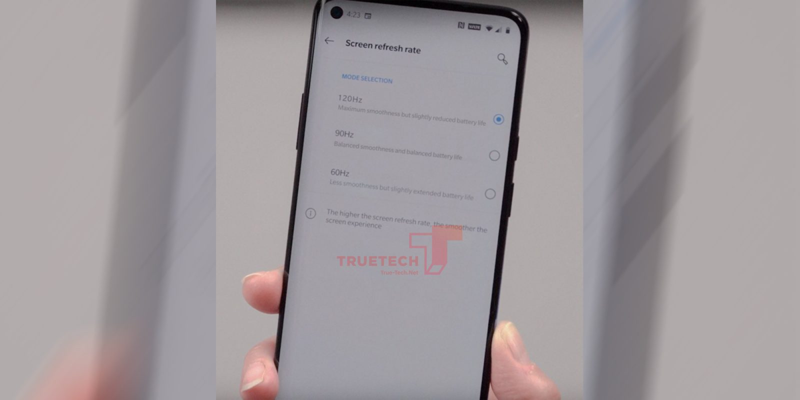 Supposed OnePlus 8 Pro 120 Hz display settings, punch-hole leaked in hands-on photo