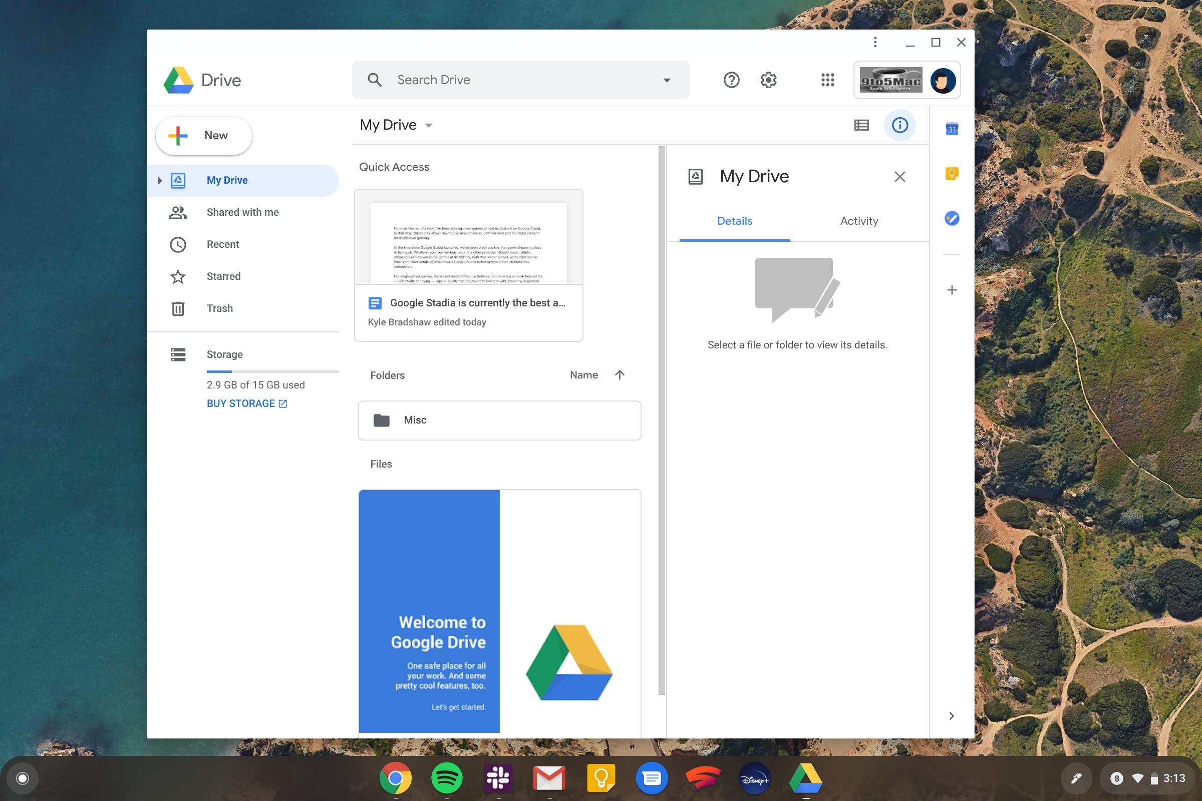 google drive progressive web app chrome os chromebook