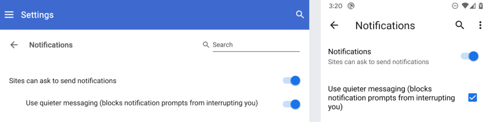 Image result for Chrome 80 adding quieter permissions UI to deny notification requests